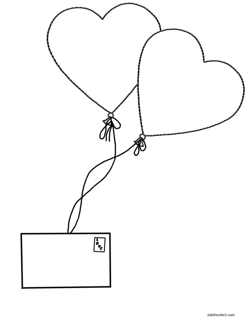 Air mail love letter with heart shaped balloons.