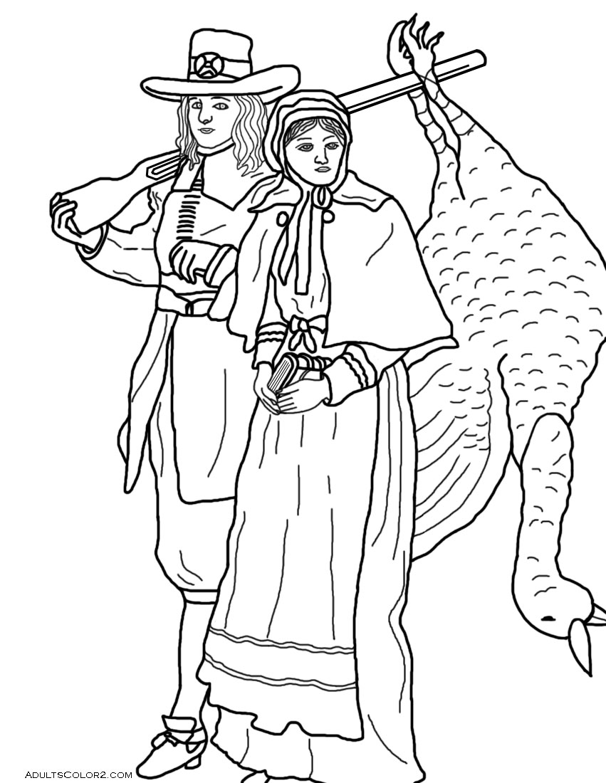 Pilgrim couple with turkey.