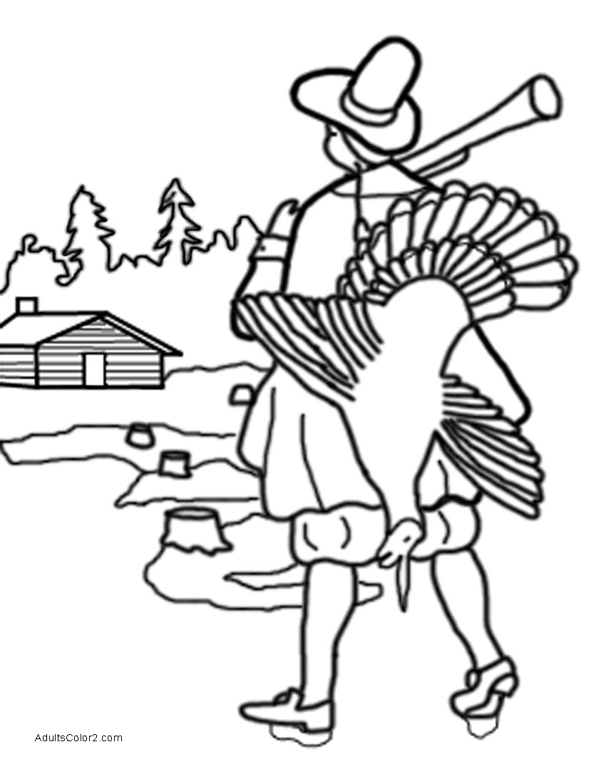 Pilgrim returning home from successful turkey hunt.