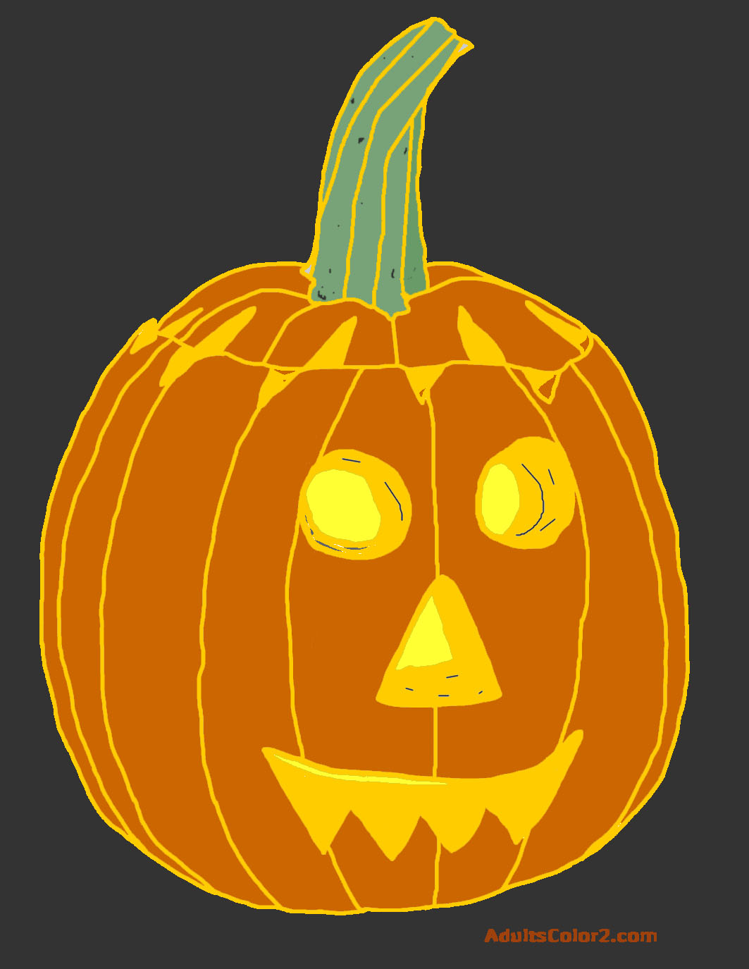 Colored in drawing of a lit Jack o' Lantern.