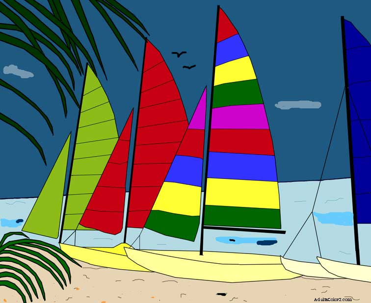 Colored drawing of sailboats in Key West.