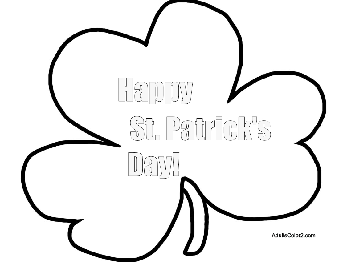 Happy St. Patrick's Day shamrock coloring page.