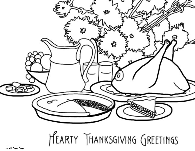 A vintage Thanksgiving dinner scene.