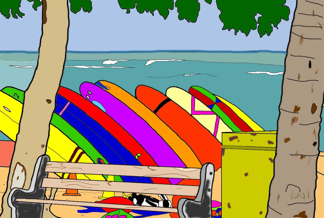 Surfboards on Waikiki page colored in.
