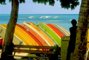 Photo of surfboards on Waikiki Beach> Source: Wikimedia Commons
