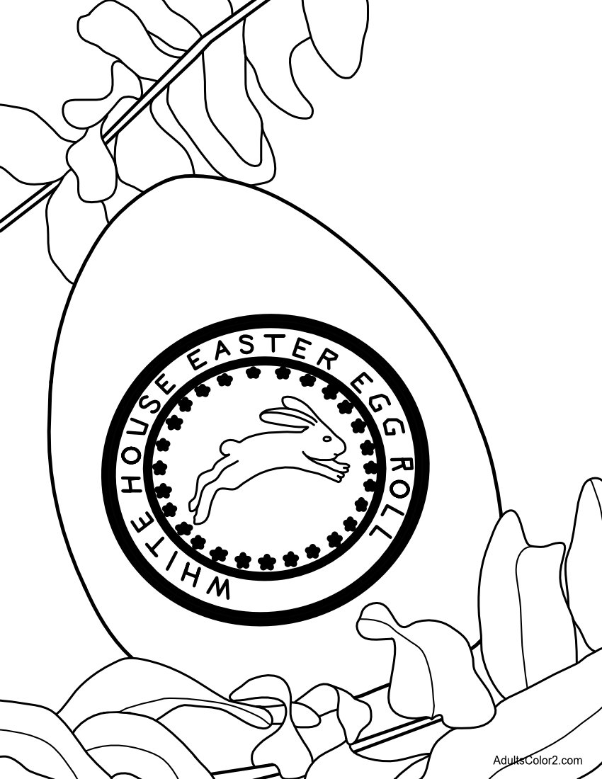 White House Easter Egg Hunt egg coloring page.