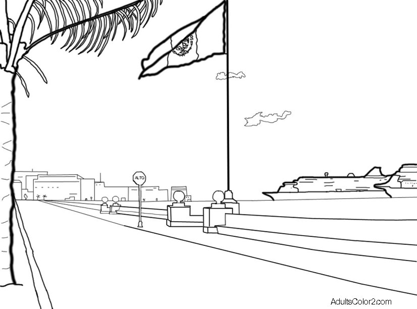 Go to Cozumel beach coloring page.