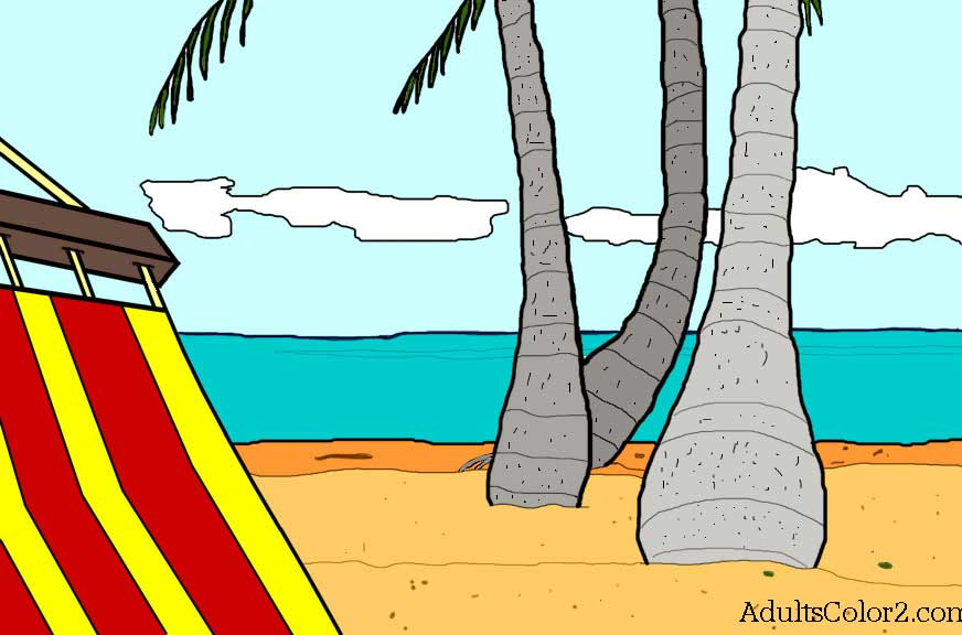 Hammock and palm tree picture colored.