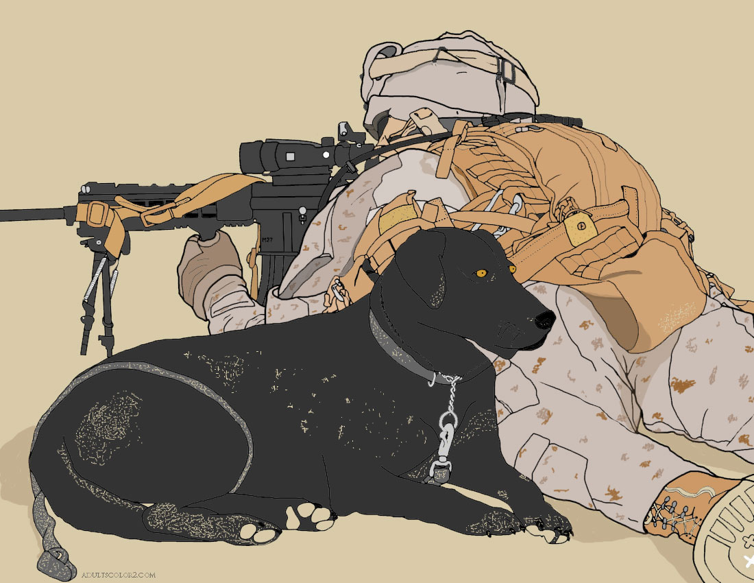 War dog guarding his soldier.