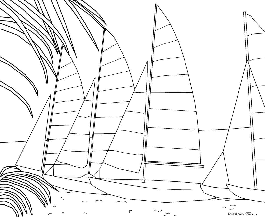 Go to coloring sheet of small sailboats resting on the beach in Key West Florida.