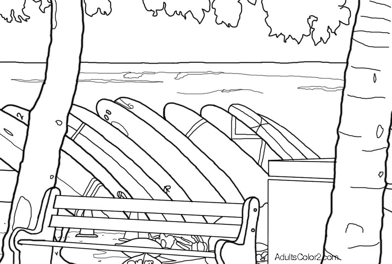 Go to coloring page of surfboards lined up on the sands of  Waikiki Beach.
